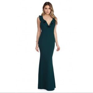 Windsor dress Alice ruffle crepe sleeveless teal